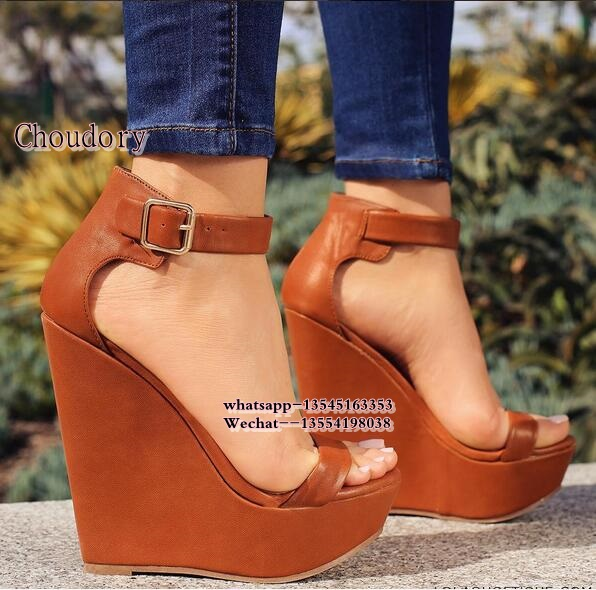 platform sandals women wedges shoe woman 2017 peep toe heels summer Leather shoes high heel Gladiator sandals sexy ladies shoes ekoak new 2018 summer shoes woman fashion crystal women sandals ladies wedges platform shoes woman party shoes gladiator sandals