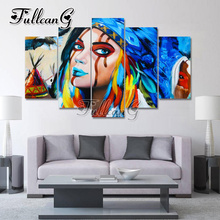 FULLCANG needlework Diy Full Square Diamond Embroidery 5PCS Painting Cross Stitch Mosaic Kits G599