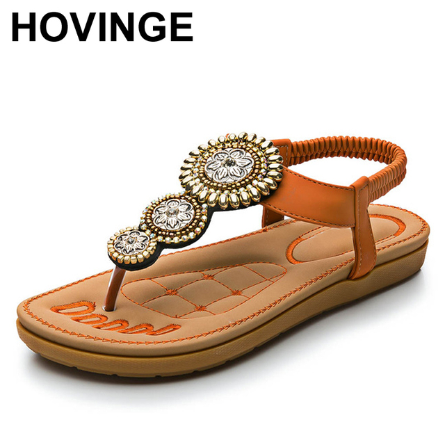 839ccda08 HOVINGE Handcrafted Gold Sunflowers Charm Suede Stripes Strentch Women Flip-flop  Sandal ft. Stitching Lambskin Padded Sole
