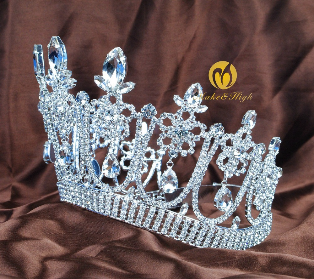 Flower Contoured Tiara Bridal Crown Crystal Women Beauty Pageant Prom Party New