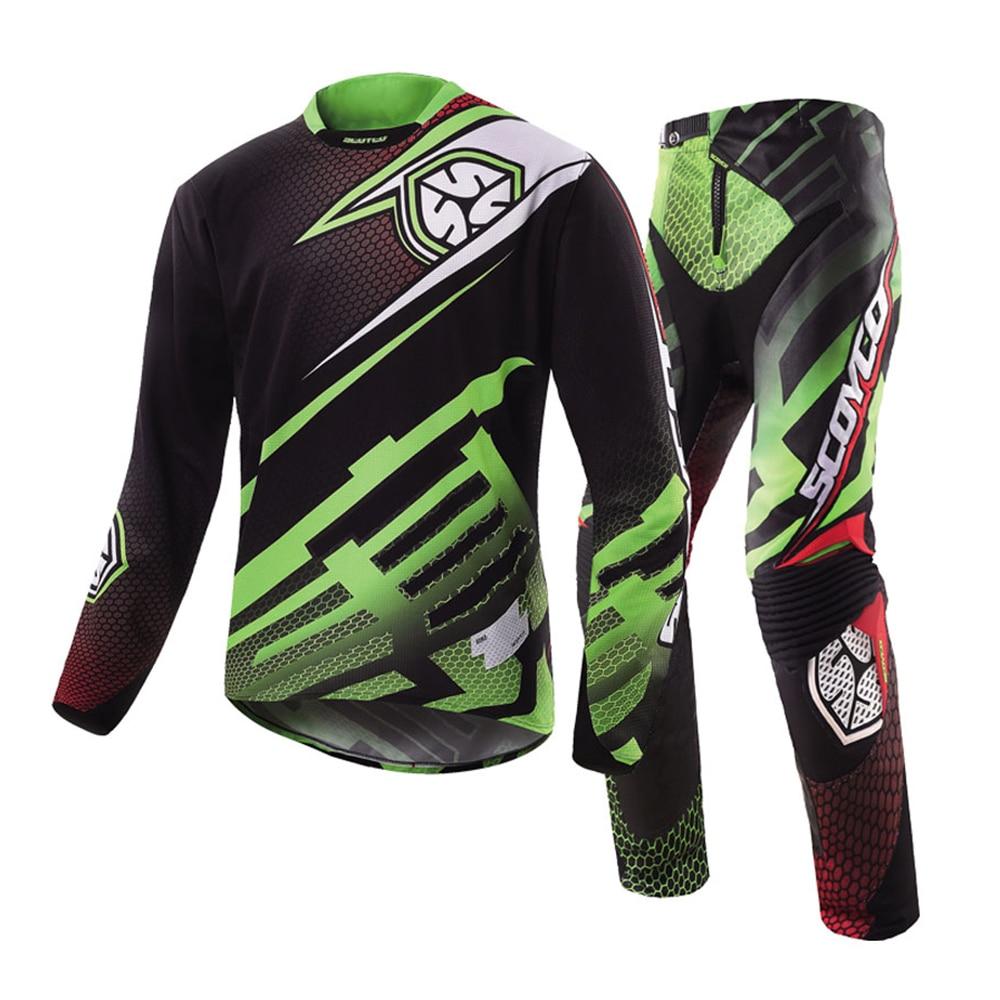 SCOYCO Motorcycle Motocross MTB DH MX Clothing Motorbike Off Road Racing Suits Racing Jersey + Hip Pads Pants Set Jacket