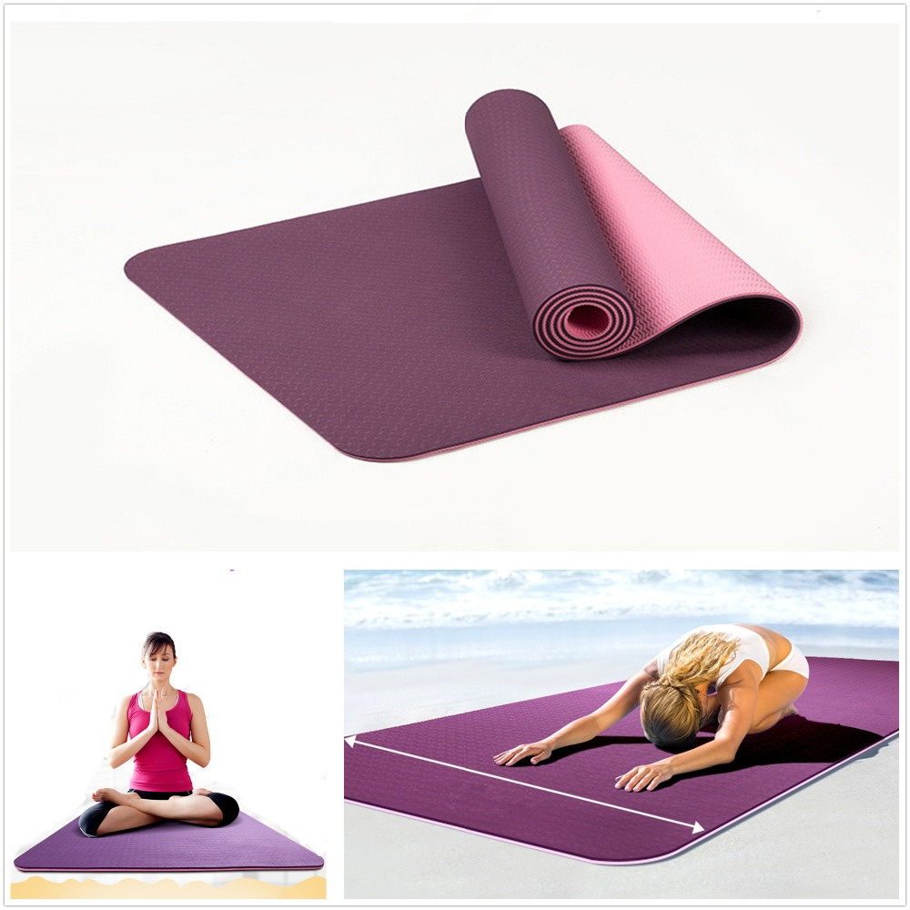 6mm Thick Non Slip Yoga Mat Gym Exercise Tpe Yoga Pilates