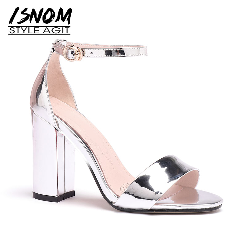 ISNOM Ankle Strap Sandals Women Open Toe Footwear Mirror Pu Sandals Thick High Heels Shoes Party