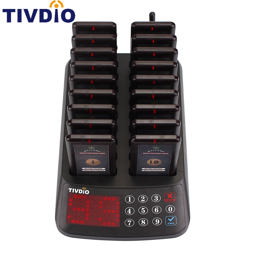 TIVDIO T-115 99 Channel Restaurant Pager Wireless Paging Queuing System 18 Coaster Pager Receiver+1 Keypad Transmitter F9406 restaurant pager wireless paging queuing calling system pos 10 red digital coaster pager 1 numeric keypad transmitter f3198c