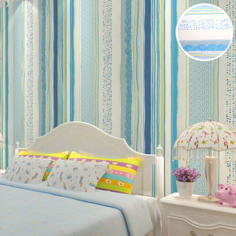 Kids Bedroom Blue Stripes Wallpaper Designs Modern Vinyl Grey Wall Paper Roll For Loft Children