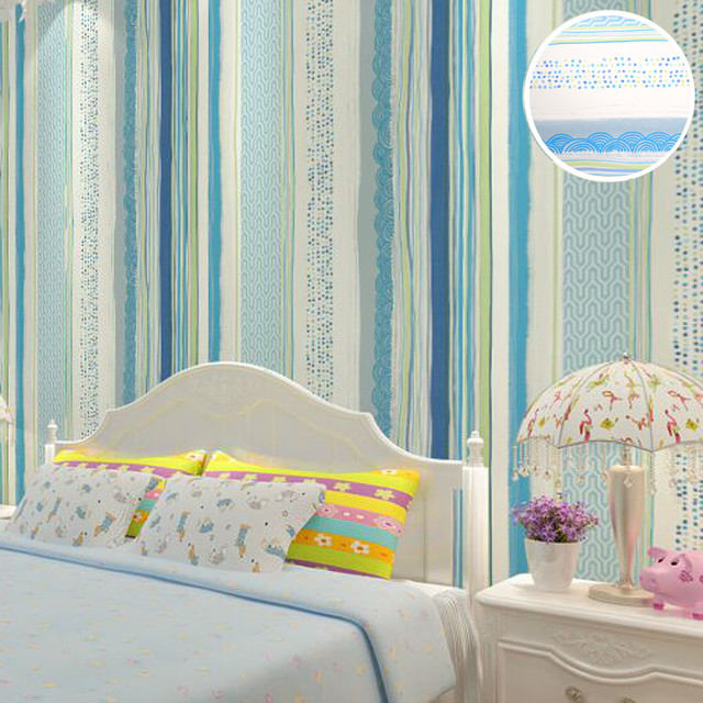 Kids Bedroom Blue Stripes Wallpaper Designs Modern Vinyl Grey Wall