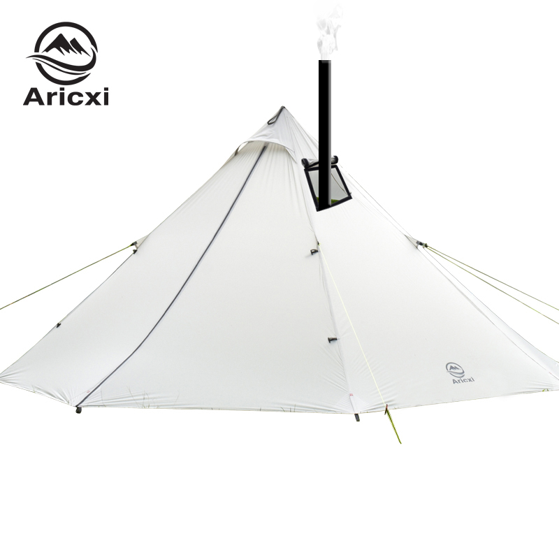 3-4 Person Ultralight Outdoor Camping Teepee 20D Silnylon Pyramid Tent Large Rodless Tent Backpacking Hiking Tents title=