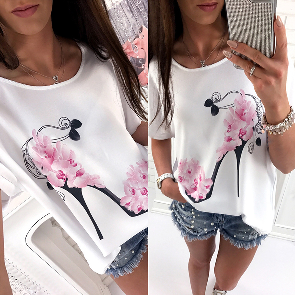 2018 Women Short Sleeve High Heels Printed Tops Beach Casual Loose Blouse Top Shirt