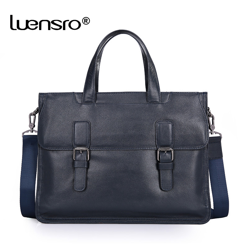 LUENSRO Men Briefcase Genuine Leather Handbags Portfolio Bag Office Bags for Mens Messenger Bag Men Leather