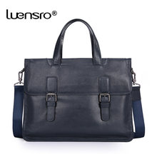 LUENSRO Men Briefcase Genuine Leather Handbags Portfolio Bag Office Bags for Mens Messenger Bag Men Leather Laptop Bag Briefcase(China)