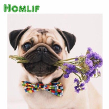 HOMLIF 5d Diamond Painting round drill Pug Dog Flowers Animals Embroidery Full Square Diamond Painting Cross Stitch Mosaic Paint(China)