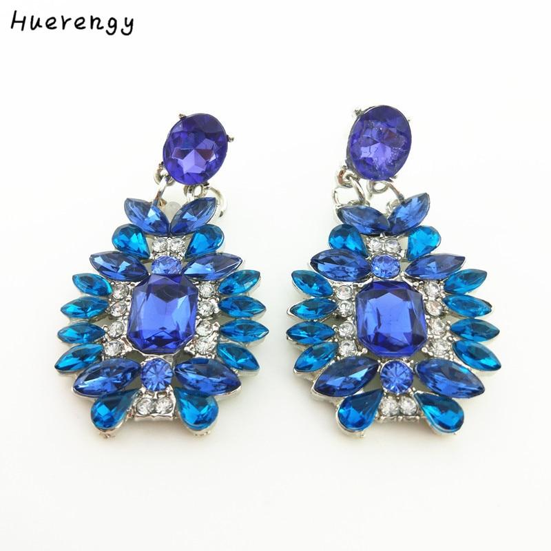 New Fashion Bule Gem Flowers Stud Earrings for Women Pendant Crystal Statement Earrings Hyperbole Brincos Jewelery
