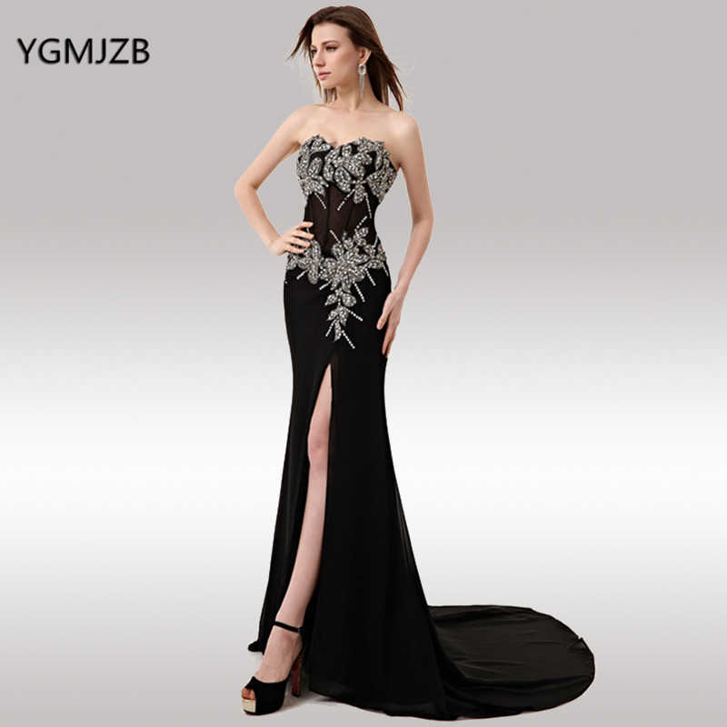 e531d87fa4d1 Black Long Evening Dresses 2019 Mermaid Sleeveless Beaded Crystal with Slit  Sexy Formal Evening Party Dress