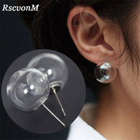 RscvonM Cute Women Stud Earrings Fashion Jewelry Brincos Transparent Ball Bubble Earing 2018 Pendientes Mujer Boucles Bijoux NEW