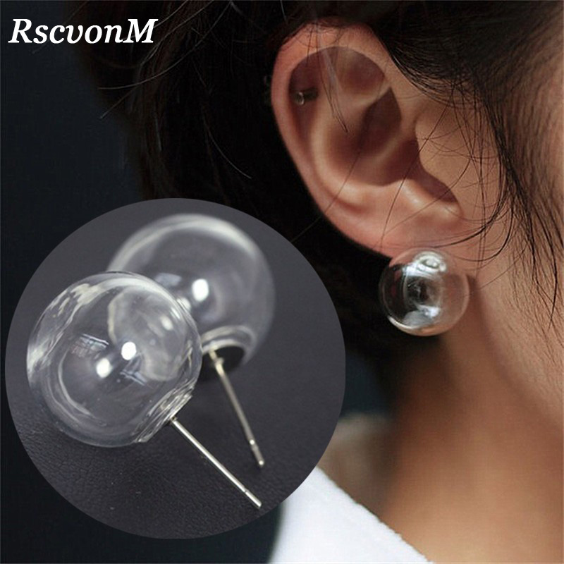 RscvonM Cute Women Stud Earrings Fashion Jewelry Brincos Transparent Ball Bubble Earing Pendientes Mujer Boucles Bijoux NEW