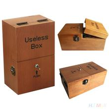 Wooden Useless Box Funny Toys Geek Gadget Gags Joke Tricky Toys Anti Stress Creativity Novelty Toys For Children Adult