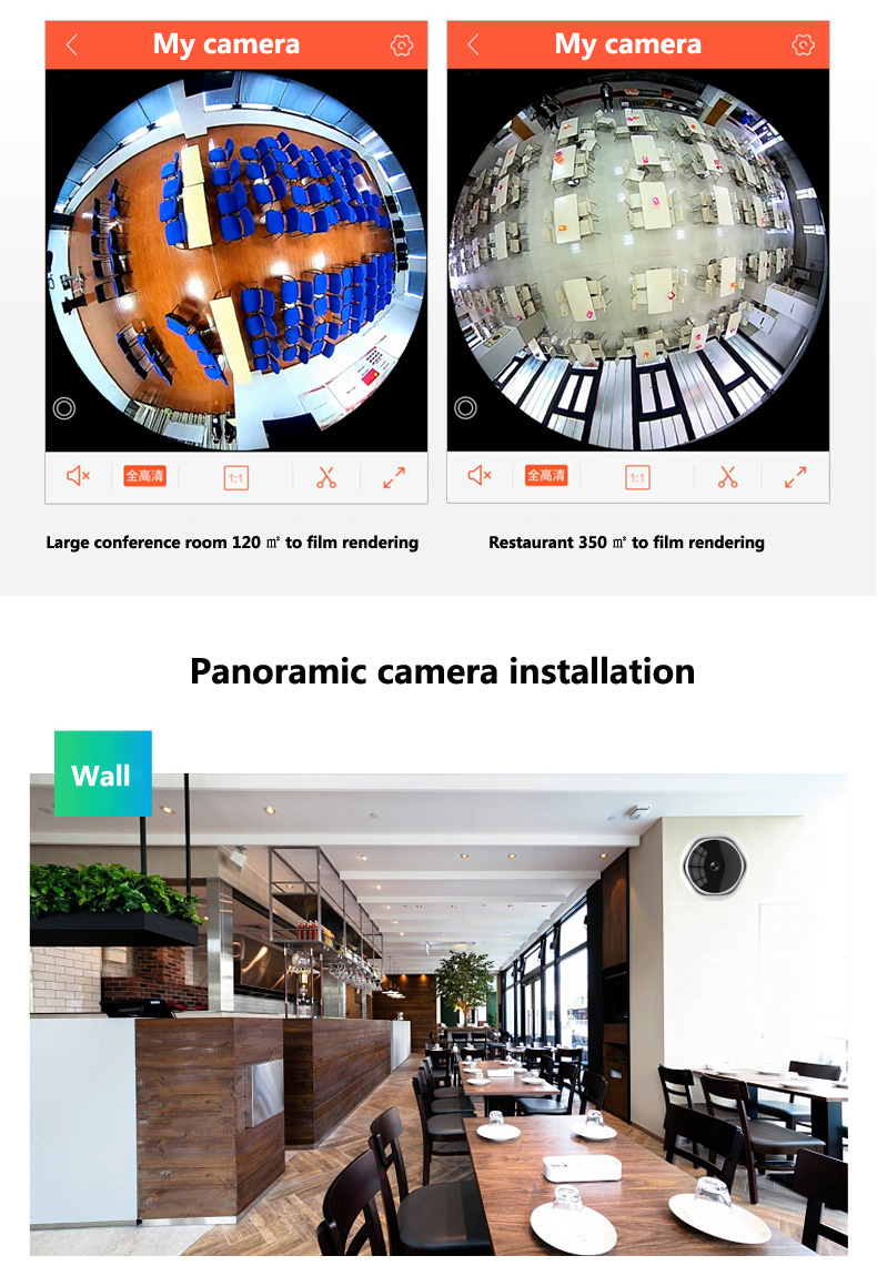 Image 3 - 5MP XM 360 degre Panoramic Camera IP Wireless Network WiFi Fisheye Security IP Camera Built in MIC wifi camera-in Surveillance Cameras from Security & Protection