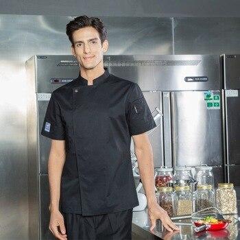 37915ff2242 Ropa de Chef de manga corta Tops Hotel cocina restaurante pastel panadería  Chef uniforme transpirable servicio de comida chaquetas ropa de trabajo