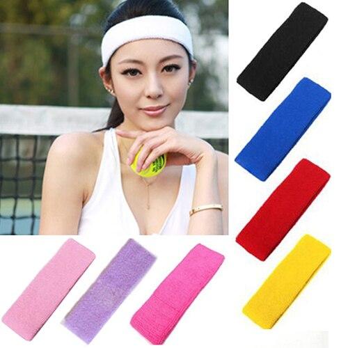 1 adet kadınlar/erkek pamuk ter bandı bandı spor Yoga spor salonu koşu streç saç kafa bandı bisiklet geniş kafa önleme ter bandı