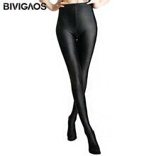 2016 Womens New Glossy Shiny Black Leggings Stovepipe Pants High Elastic Slim Legs Sexy Leggings Body Shaper Leggings For Women