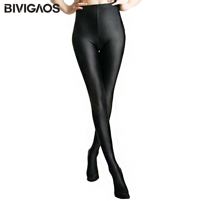 2018 Womens New Glossy Preto Brilhante Leggings Stovepipe Calças Alta Elastic Magro Pernas Sexy Leggings Shaper Do Corpo Leggings Para As Mulheres