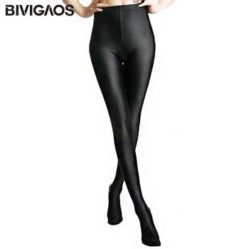 2018 Womens New Glossy Shiny Black Leggings Stovepipe Pants High Elastic Slim Legs Sexy Leggings Body Shaper Leggings For Women