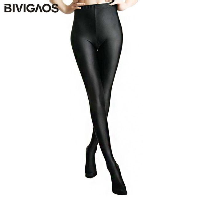 b66ca5e9 2018 Womens New Glossy Shiny Black Leggings Stovepipe Pants High Elastic  Slim Legs Sexy Leggings Body