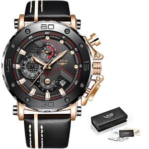 Image 5 - Yeni 2019 LIGE Chronograph Erkek Saatler Top Marka Moda Lüks quartz saat Erkekler Askeri Su Geçirmez Saat Erkek Spor Kol Saati