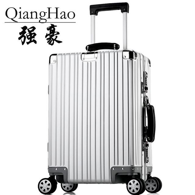 QIANGHAO!100% magnesium alloy aluminum trolley luggage with the full logo, matte bags, rivet Reinforced Roller Bag Carry ONS