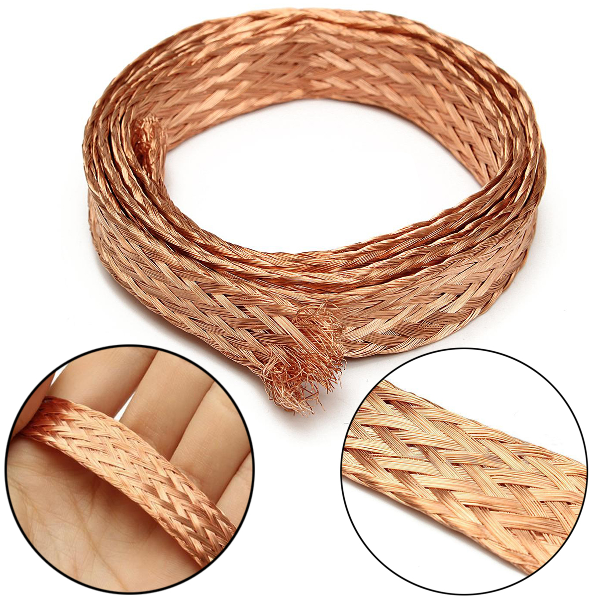 1m/3.3 Ft Flat Copper Braid Cable 11mm Width Uninsulated Bare Copper Braid Wire Ground Lead  1m 15mm flat tinned copper braid sleeve screening tubular cable diy