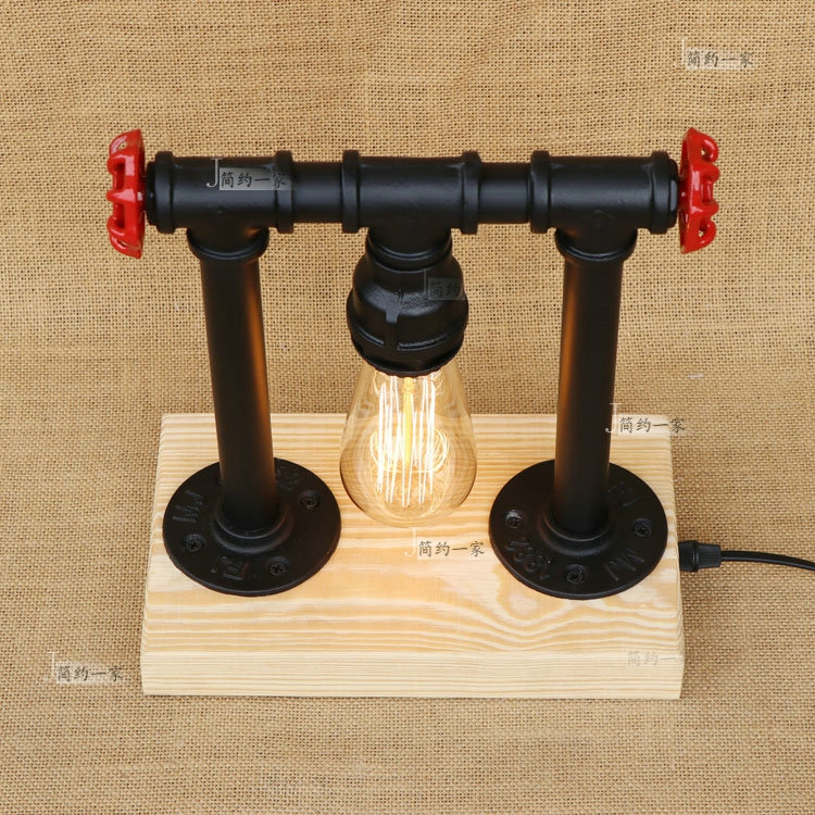 Water pipes retro industrial table light bedroom bed idea western Table lights restaurant bar iron pipe wood table lamp SG11