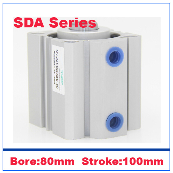 High Quality SDA80x60 Pneumatic SDA80-60mm Double Acting Compact AIR Cylinder