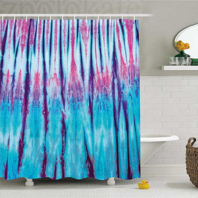 Tie Dye Decor Shower Curtain Close Up Vertical Gradient Figures Hippie Alter Life Retro Artwork Bathroom Set With