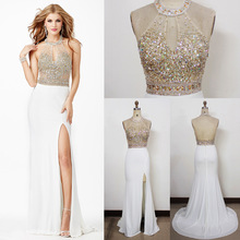 Doragrace robe de soiree High-End Sexy Backless Luxury Crystal Beaded Evening Dresses With Side Split DGE141