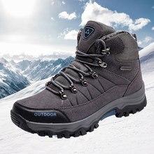 Men Hiking Shoes Winter Add Wool Warm Boots Mountain Climbing Outdoor Sport Trekking Sneakers Plus Size 39-46