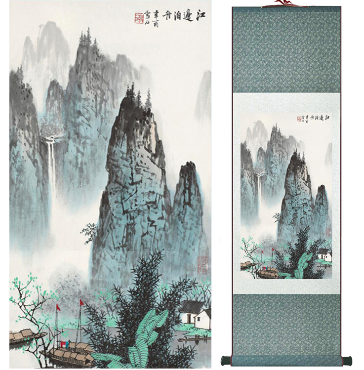 Mountain and River painting Chinese scroll painting landscape art painting home decoration picture 041702