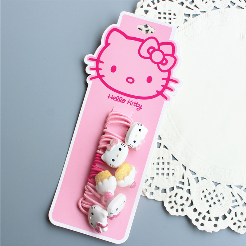 Emily1308 Store F208 Free Shipping Cute little girl cake cats children baby hair rope single headband Rope rope pink series hair ornaments 6 pcs