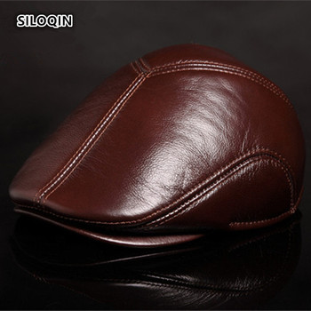 SILOQIN Genuine Leather Hat Winter Men's Fashion Berets First Layer Cowhide Male Bone Keep Warm Earmuffs Hats Tongue Cap Dad Hat siloqin new winter men s genuine leather hat thicken warm cowhide leather baseball caps with ears dad s hats snapback brands cap