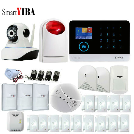 SmartYIBA 3G WCDMA WIFI Home Burglar Alarm System Wireless Security IP Camera Smoke Fire Pet Immune PIR Sensor Alarm APP Control smartyiba 3g wifi alarm system app remote control burglar arm disarm ip camera solar powered siren pet immune pir alarm kits