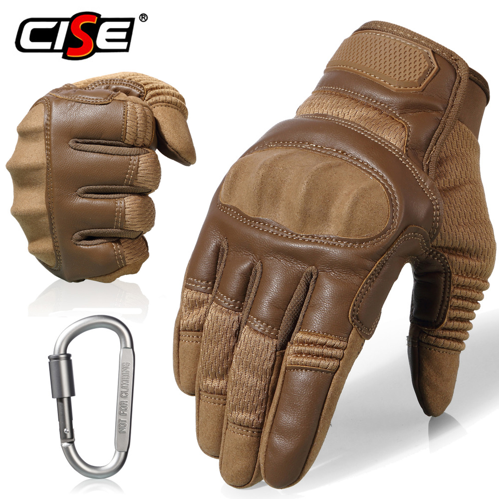 Touch Screen Leather Motorcycle Non-Slip Hard Knuckle Full Finger Gloves Protective Gear Outdoor Sports Racing Motocross ATV Ocean & Earth