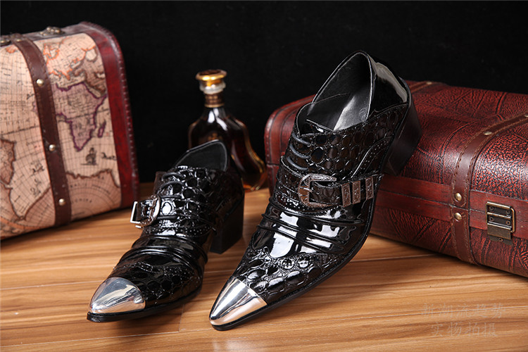 Black genuine leather slip on buckled men's oxfords top quality british style sapato masculino formal dress party flats buckled belt detail plaid top