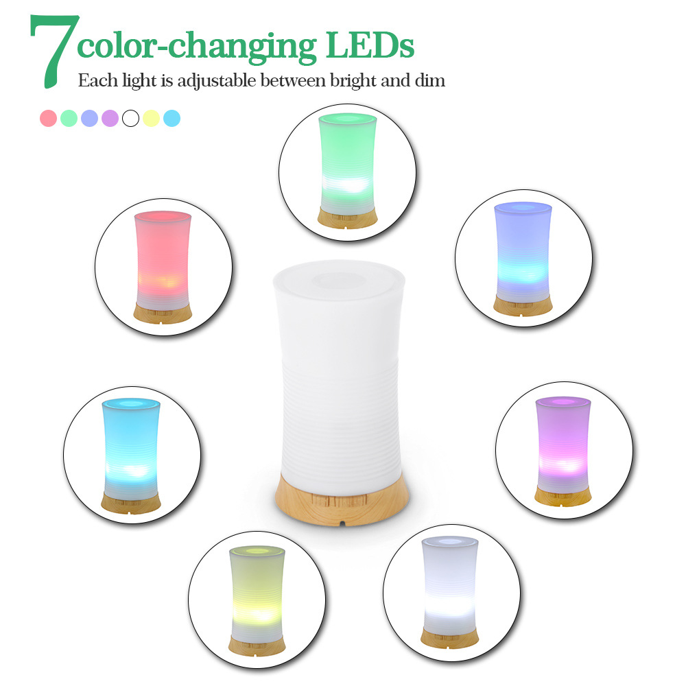 Night Lights Essential Oil Diffuser For Aromatherapy 100ml Premium Cool Mist Aroma Humidifier With Changing Colored Led Lights