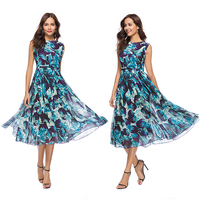 Real Picture 2018 Summer New Slim Women Dress Temperament Printing O neck Sleeveless Femal Beach Vest Long Dresses