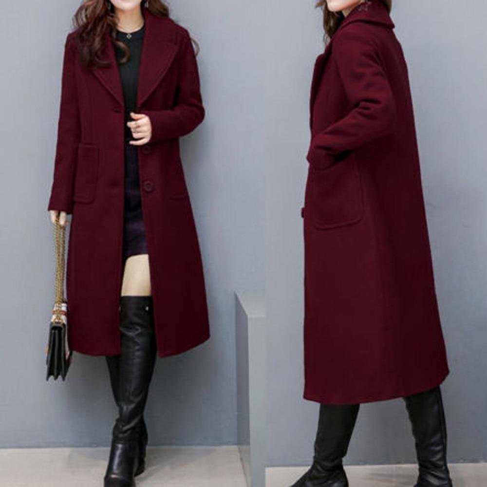 YOUYEDIAN 2019 Women Ladies Winter Lapel Slim Long Coat Jacket Parka Outwear Wool Overcoat