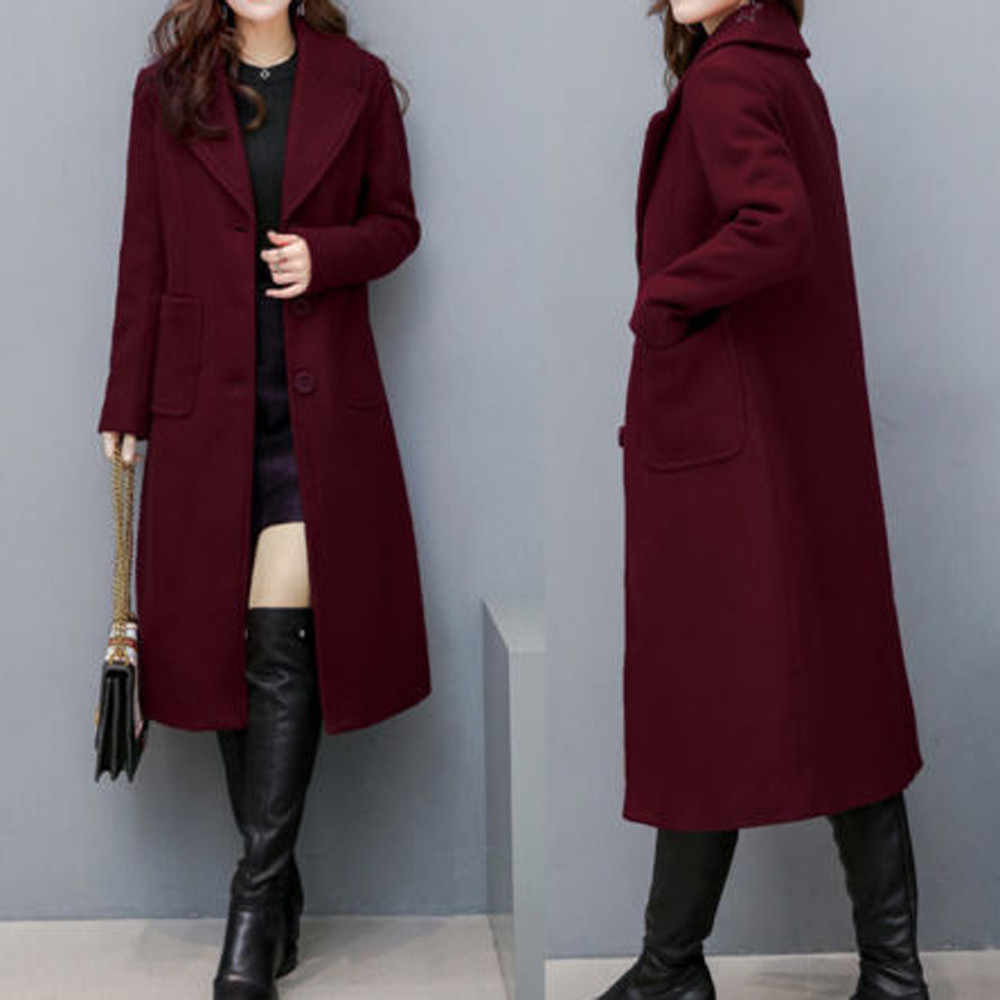 YOUYEDIAN 2019 Women Ladies Winter Lapel Slim Long Coat Jacket Parka Outwear Wool Overcoat