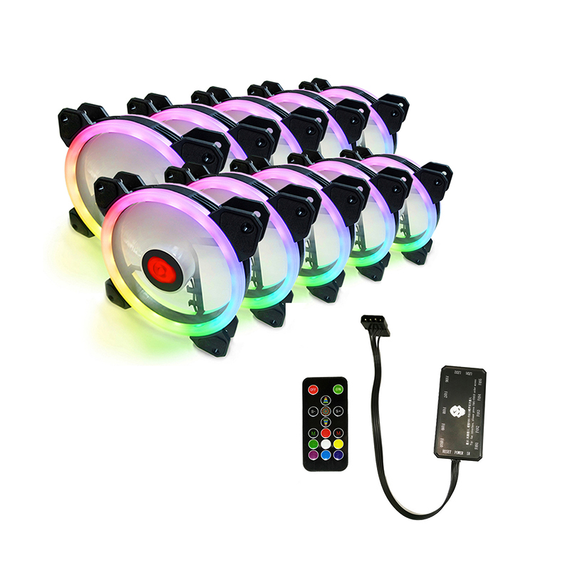 Newest 10Pcs RGB Aurora Cooling Fan 120MM 6Pin Controller RGB LED Ring For Computer Water Cooler Color Adjustable Radiator Fan 1u server computer copper radiator cooler cooling heatsink for intel lga 2011 active cooling
