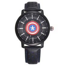 Genuine Disney kids watch children boy clocks leather quartz The Avengers Captain America Shield waterproof Luminous MV-82018