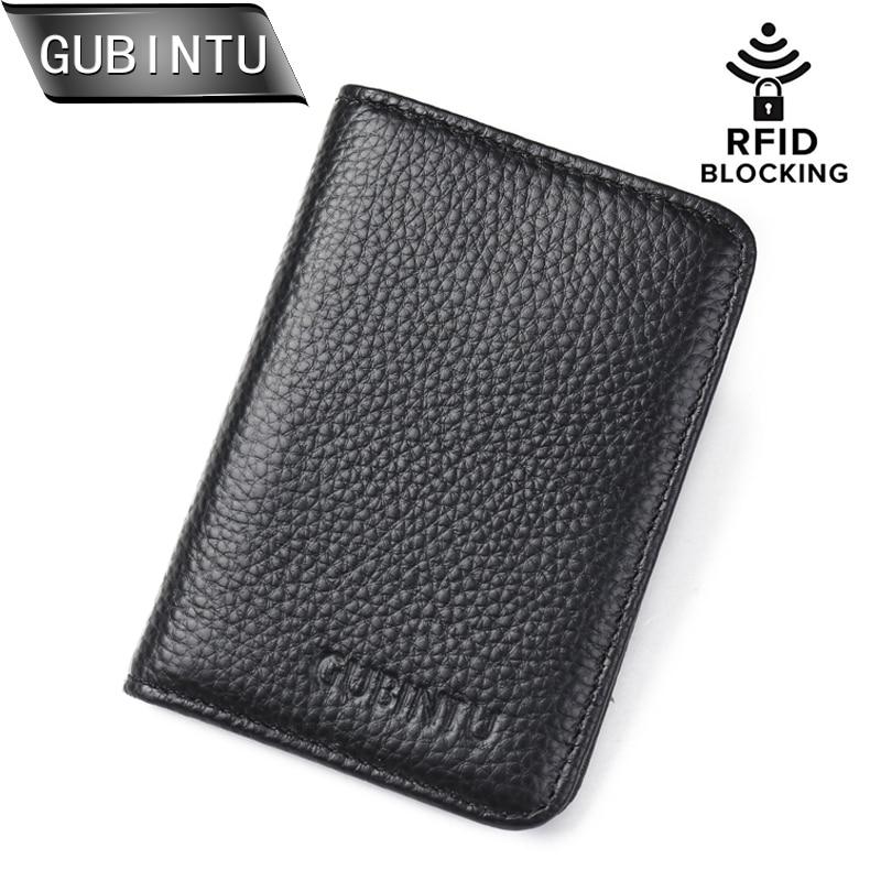 GUBINTU բնօրինակի կաշվե Credi քարտի դրամապանակ RFID առջևի գրպանի դրամապանակ Տղամարդկանց համարի քարտի տուփ Բանկային քարտի սեփականատեր Փոքր դրամապանակ