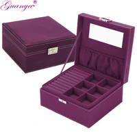Guanya Brand Style 4 Color Practical Flannel Jewelry Box Jewelry Display Earrings Necklace Pendant Storage Container