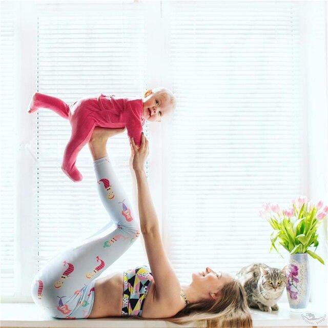 7c55303fd7993c Whimsical Blue Mermaid Leggings Pilates High Waist Yoga Pants Cartoon Printed  Workout Running Tights Jogging Gym Clothes